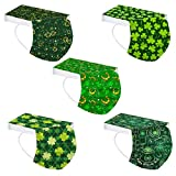 50 Pack ST Saint Patricks Day Disposable Face Mask for Adult With Designs Cute Printed Shamrock Paper Masks Breathable Full Face Cover Protections (04)