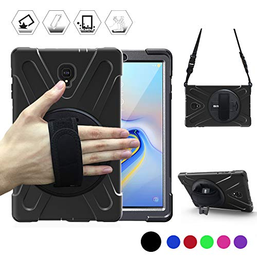 Galaxy Tab A 10.5 Case, BRAECN Heavy Duty Shockproof Rugged Case with 360 Degree Rotatable Hand Strap,Kickstand/Carrying Shoulder Strap for Samsung Galaxy Tab A 10.5 2018 SM-T590/T595 Tablet (Black)
