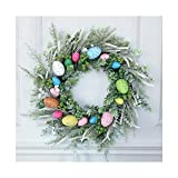 Easter Wreath Front Door Rattan Wreaths to Decorate Easter Garland Wreath Artificial Easter Wreath for Front Door Easter Wreath with Colorful Eggs (1PCS)