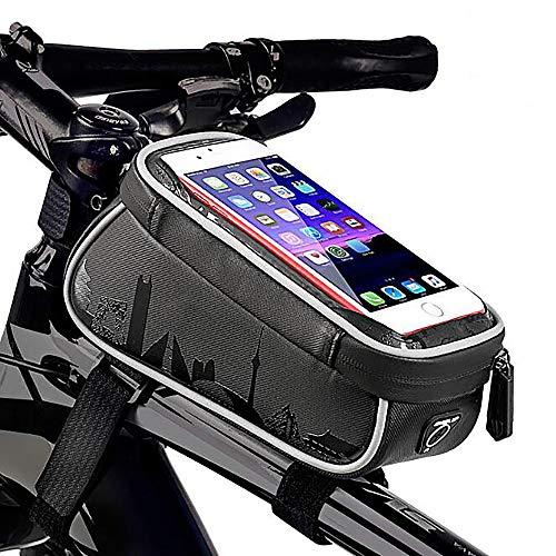 MALY Bolsa de Cuadro de Ciclismo, Bolsa de Tubo Superior Portador de Bolsa Bolsa de Barra Cruzada Teléfono Impermeable para Ciclismo Aire Libre Smartphone Paquete de Pantalla táctil para móvil