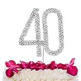 STONCEL - Decoración para tarta de cristales brillantes con número 10/18/20/30/40/50/60 para cumpleaños, aniversario, boda, fiesta, decoración (Number40)