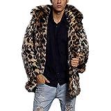 Cloak Coat for Men, Mens Winter Warm Gothic Wool Faux Fur Collar Leopard Long Cape Cloak Vintage Coat S-3XL
