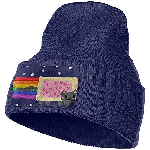 Quintion Robeson Nyan Cat Skl Hommes Femmes Winter Beanie - Unisexe Cuffed Plain Skull Knit Hat Cap