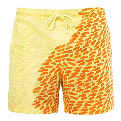 YDKJ 2020 Mens Color-Changing Swimming Trunks Beach Shorts, Summer Quick Dry Shorts Yellow