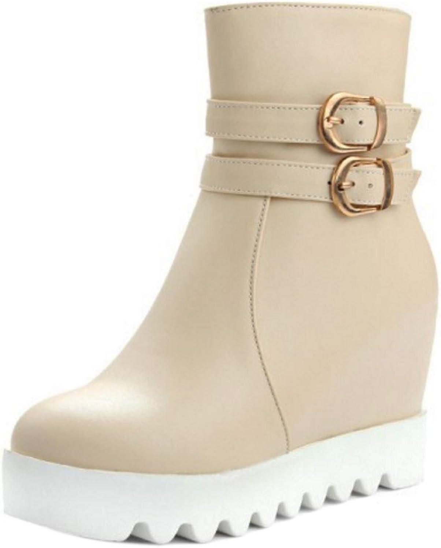 AicciAizzi Women Fashion Wedge Heel Zipper Boots with Height Increasing