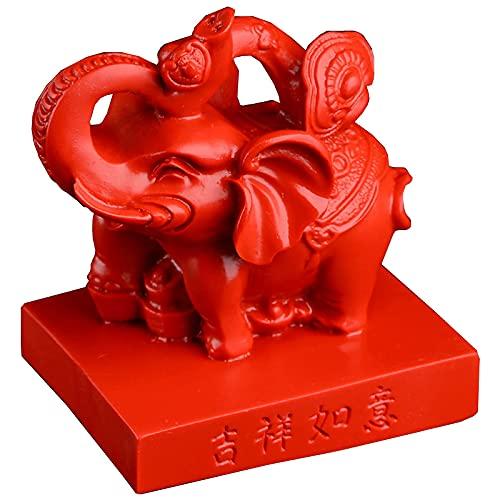 XCNFDI Estatuas y Figuras de Elefantes, esculturas de Animales para la Sala de Estar, decoración de la Suerte de la Riqueza, Adorno de Feng Shui para la Oficina en casa, Rojo Festival