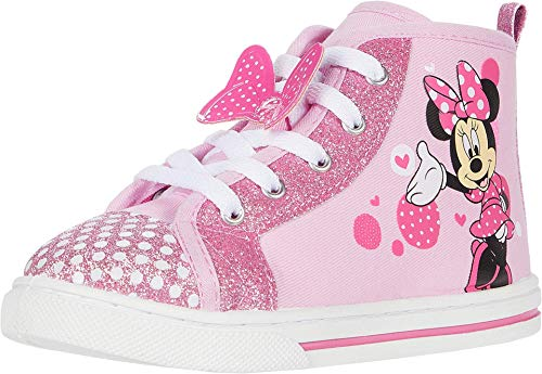Josmo Girls Minnie Mouse Canvas Sneaker (Toddler/Little Kid), Pink Glitter Bow, 12