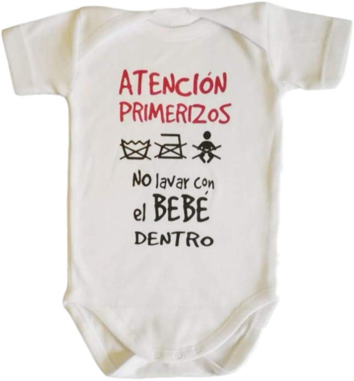 Body Bebe Frase : ATENCION PRIMERIZOS, NO Lavar con EL BEBÉ Dentro Regalo Bebe Regalo Recien Nacido Regalo Padres PRIMERIZOS (3 Meses Manga Corta): Amazon.es: Ropa y accesorios
