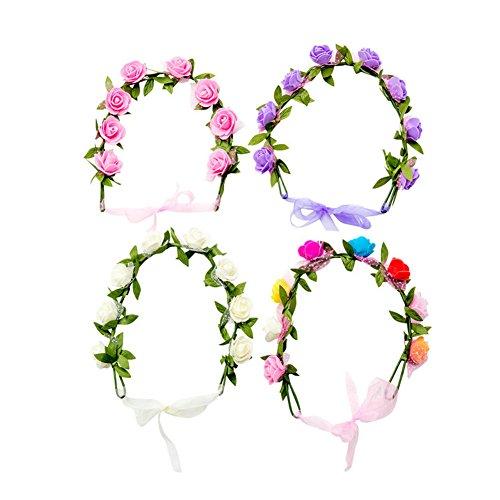 HABI 4 stk Blumenkranz Blumenkrone Haarkranz aus Handwerk , BOHO Blumenstirnband Dekoration für Party Festival oder Hochzeit für Frauen Mädchen Brautjungfer