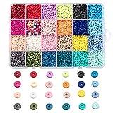 Ornaland 24 Colores Cuentas Espaciadoras de Arcilla PoliméRica Hechas a Mano 4mm / 6mm / 8mm Disco/Cuentas Planas Redondas de Colores Heishi para Hacer Joyas DIY