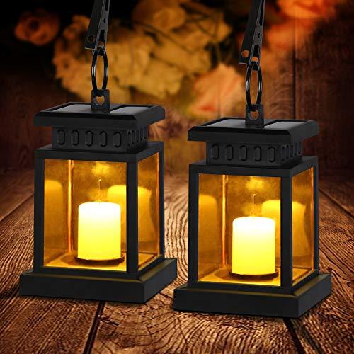 Solar Laterne Außen mit LED Kerze, Led Solar Laterne, Solarlampen für Außen hängend Flackereffekt Solar Led Laterne mit Kerzen Dekoration Lampen für Garten Terassen Haus Wand Weg Auffahrt Rasen