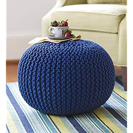 Generic Cotton Knitted Pouf Ottoman Foot Stool/for Living Room/Bedroom Hall/Pouf Ball Chair/Pouf exterieur Ball/Round Ball (Medium, Blue)