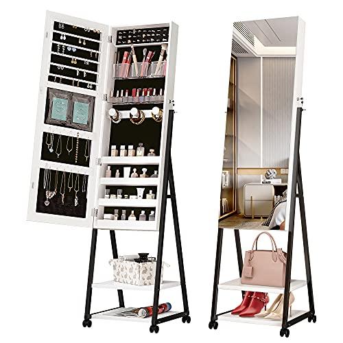 Vlsrka Armario para joyas, gabinete de espejo montado en la pared con cerradura, estante de joyería movible 360 ° blanco