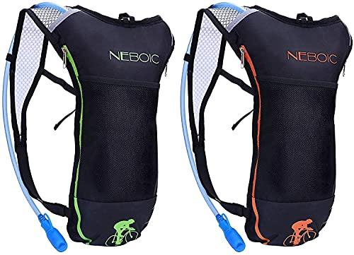Neboic 2Packs Trinkrucksack mit 2L Trinkblase Trinksystem Hydration Backpack Wasser Rucksack Wasser Blase Laufrucksack Trinksystem für Radfahren/Wandern/Klettern Beutel