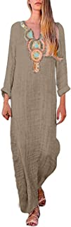 qiansu Womens Summer Beach Boho Dress Plus Size S-5XL Casual V Neck Split Dress Vintage Ethnic Floral Ladies Loose Long Sleeve Long Maxi Kaftan Dresses