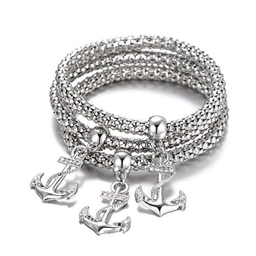 Frauen Charm Armband, Anker Anhänger Armband Stretch Mais Kette Armreif Freundschaft Manschette Armband für Mädchen mit CZ Crystal (versilbert)