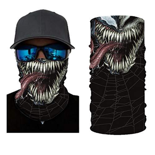 jiazery QZ The Dark Knight Bane Bandana Gesichtsmaske, multifunktional, UV-Schutz, 3D-gedruckte Sturmhaube, Kopfbedeckung, Herren, Venom 2A, Einheitsgröße
