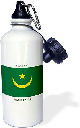 "3dRose WB _ _ _ _ _ _ _ _ _ _ 211336_ _ _ _ _ _ _ _ _ _ 2,5cm Bandera de Mauritania ""Deportes botella de agua, 21oz, color blanco"