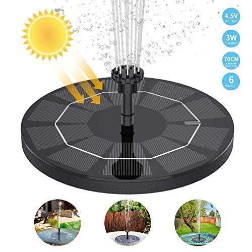 WOHOOH Solar Springbrunnen mit 3W Solar Panel, Solar Teichpumpe Eingebaute 1200 mAh Batterie Wasserpumpe Solar Schwimmender Fontäne Pumpe mit 6 Fontänenstile für Garten, Vogel-Bad, Fisch-Behälter