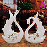 YXR Home Decoration Crafts Miao Jin Swan decoración artesanía hogar salón TV armario Weinklimaschrank decoración bodas Geschenk-Set, cerámica, A