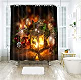 AJ WALLPAPER 3D Navidad Iluminación vela 132 cortina de ducha resistente al agua fibra baño ventanas inodoro Reino Unido Zoe (tamaño personalizado (mensaje eBay us))