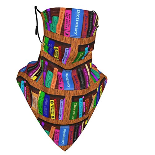 Books Library Face Mask Reusable Women Cute Design Bandanas Neck Gaiter for Men Outdoor