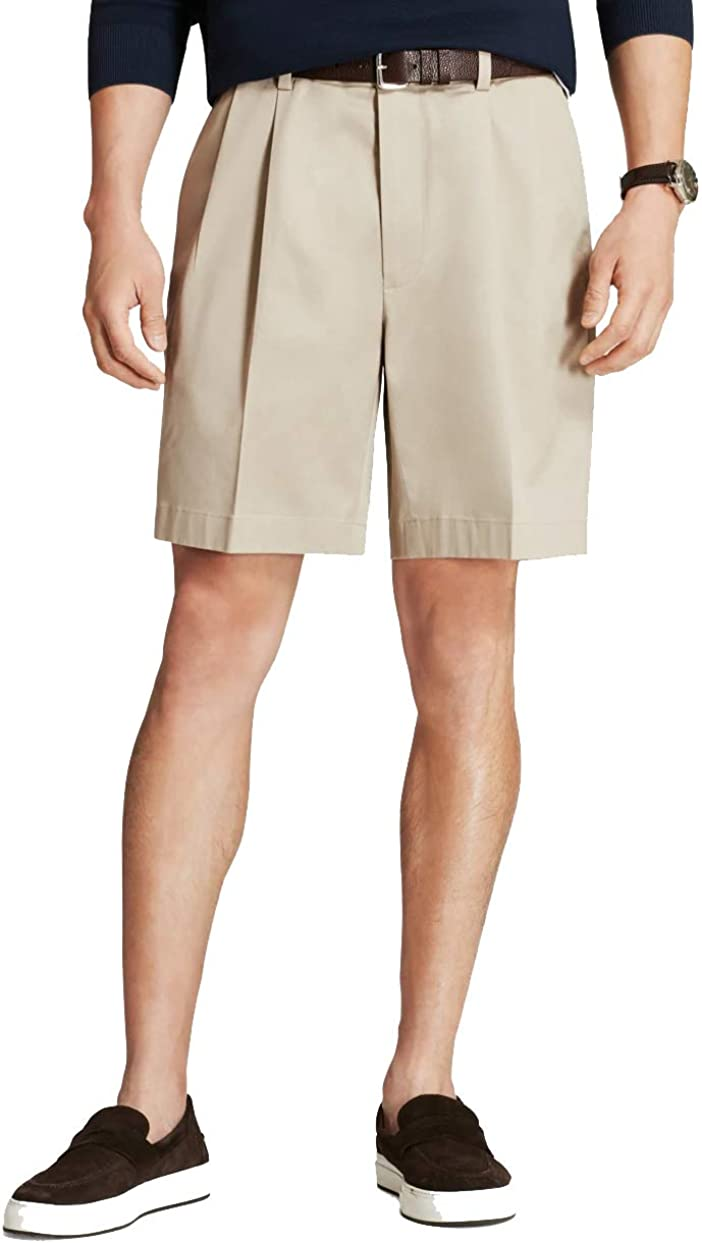 Brooks Brothers Men's 30281 Pleated Front Light Weight Chino Shorts, Stone Color