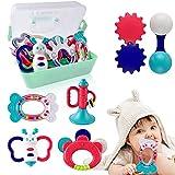 NextX Babyspielzeug 0-6 Monate, Kinderkrankheiten rasselt sensorisch Frühes Lernen Pädagogisches Neugeborenes Spielzeug mit Aufbewahrungsbox 9 Stück