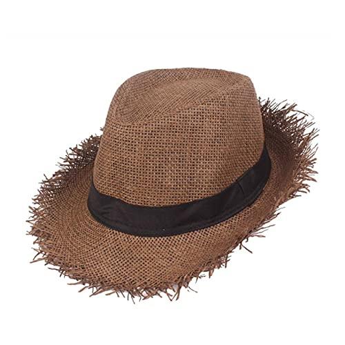 MHBY Sombrero para el Sol, Sombrero para el Sol de Playa Tejido de Paja para Mujer, protección para el Sol, Sombrero Plano de Verano Plegable en Espiga Gris