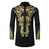 Camisas Hombres, Dragon868 Cuello de Estilo Africano para Ho