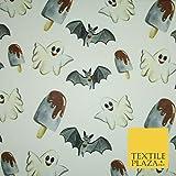 Weißer Halloween-Stoff, Fledermaus-Geister, Eis-Lolly,