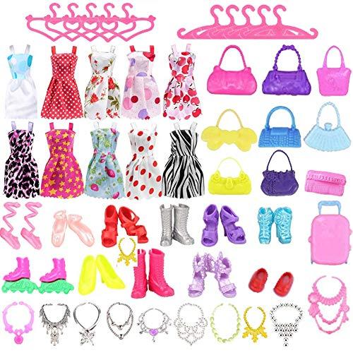 WENTS Accesorios para muñecas Conjunto de Ropa de 50 Piezas para Fashionistas muñeca Princesa con 10 Vestidos 10 Pares de Zapatos 10 Collares 10 Perchas y 10 Bolsos