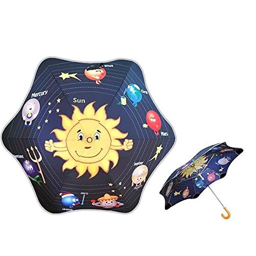 Manico lungo ombrello per bambini uomini e ragazze angoli rotondi del cartone animato barletti, due bambini della scuola primaria, asilo nido, ombrellone-Sun Planet.