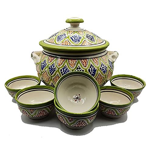 Sopera 6 tazas cerámica terracota marroquí sopa fondue cocina 2505210909