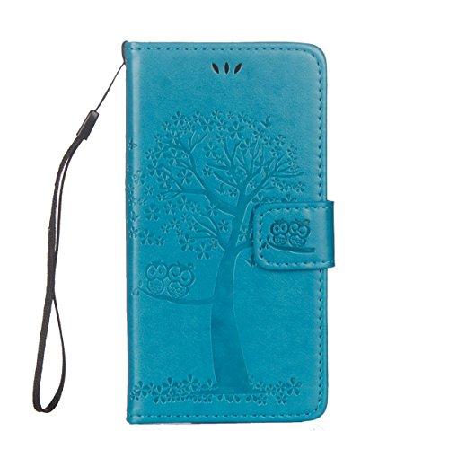 ISAKEN Funda para Sony Xperia XA1, Cartera Fundas de PU Cuero Standing Leather Wallet Case Cover Carcasa Funda con Portátil Correa función de Soporte para Sony Xperia XA1 (Árbol Búhos Azul)