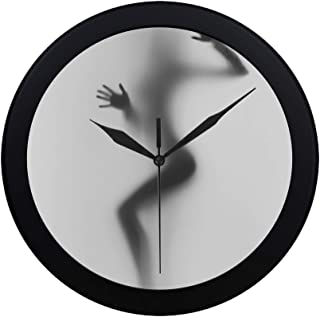 THKDSC Modern Simple Diffuse Sexy Woman Silhouette Hands Wall Clock Indoor Non-Ticking Silent Quartz Quiet Sweep Movement Wall Clcok for Office,Bathroom,livingroom Decorative 9.65 Inch