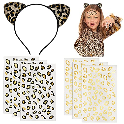 Tuoyi 6pcs Gold and Black Golden Leopard Cheetah Print Temporary Tattoo Stickers and Cat Ears Handband, Festival Costume Halloween Party Decor