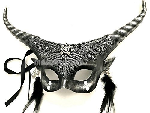 Victorian Gobin Fairy Antler Brocade Lace Masquerade Ball Mask with Horns (Silver)