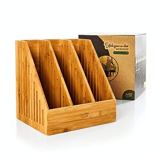 bambuswald© ökologischer Stehsammler mit 3 Fächer aus 100% Bambus | Zeitschriftensammler Aufbewahrung von Dokumenten, Heften & Mappen bis Format A4–C4 | Dokumentenablage Papierablage Ablagesystem