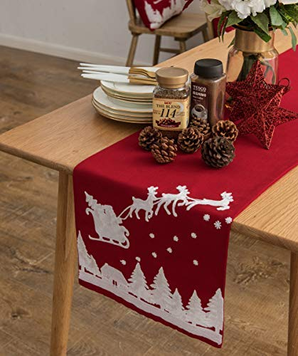Cassiel Home Christmas Table Runner 72, Embroidery Christmas Runner for Table Red Reindeer and Snow Table Runner 13x72 Christmas Table Centerpieces for Kitchen Dining Merry Christmas Decorations