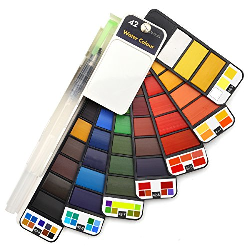 Dainayw Watercolor Paint Set - 42 Colors Professional Travel Pocket Watercolor Kit, with 1 Round Water Brushes, Christmas Gift for Artist, Kids & Adults Outdoor Painting