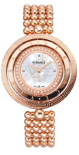 Versace 80Q81SD497 S080 - Reloj de Cuarzo para Mujeres, Correa de Acero Inoxidable Chapado, Color Oro Rosa