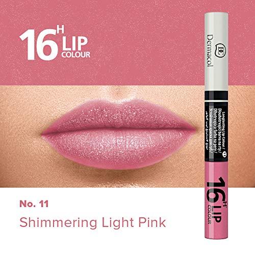 Dermacol 2-in-1 langanhaltende Lippenfarbe & Gloss Kussecht und ohne Lippenstiftflecken - Brillanter Lippenstift mit kräftiger Farbe - Lipstick 16H, Nr. 11 Shimmering Light Pink, 7,1 ml