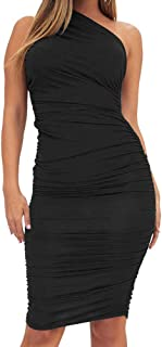 Women's Sexy Bodycon Ruched One Shoulder Sleeveless Club Knee Length Dress