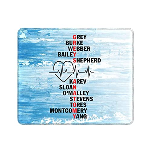 Greys Anatomy Cast Names Mouse Pad Anti-Slip Waterproof Mousepad for Computer Laptop Office Home Many Size