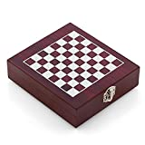Oramics 2in1 Weinzubehör und Schachspiel Box für Weinliebhaber und Sommeliers – Holzbox mit aufgezeichnetem Schachbrett, Schachfiguren und Weinzubehör/Weinwerkzeug
