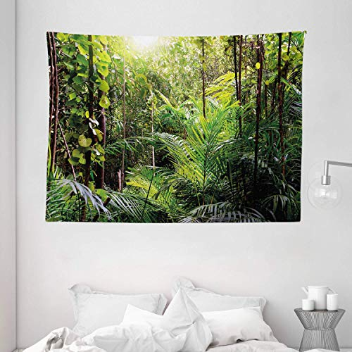 Wihuae Green Tapestry, Krabi Thailand Forest Jungle Wild Life Nature Palms Leaves Artwork Print, Wide Wall Hanging for Bedroom Living Room Dorm, 60' X 40', Forest Green