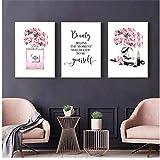 Impresiones Moda Bolso Lienzo Pintura Belleza Comienza Cita Carteles Peonía Imágenes de pared Maquillaje Decoraciones Habitación 30x40cm (11.8x15.7in) × 3 Sin marco