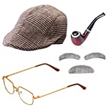Beelittle Old Man Costume Grandpa Accessories Men Newsboy Cap Ivy Beret Hat Costume Glasses (Khaki)