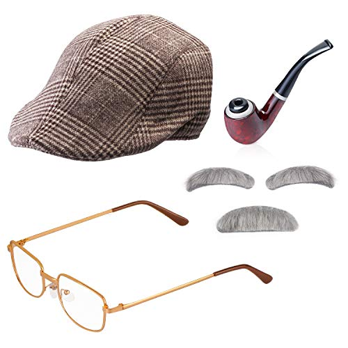 Beefunny Old Man Fancy Dress Accesorio Set Abuelo Accesorios para Disfraces Caña Inflable Gafas Pipe Old Man Wigs Party (D)